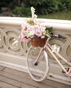 It's a beautiful world Bicycle Basket, Bicycle Art, Pretty Flowers, Pretty In Pink, Bicycle Pictures, Blair Eadie, Garden Animals, Love Garden, Vintage Bicycles