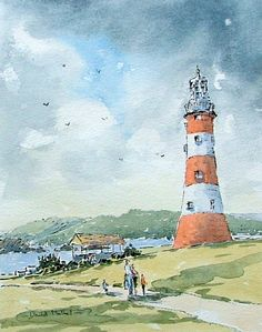 DavidMatherartist: Line and wash watercolour Smeaton lighthouse Plymouth Hoe