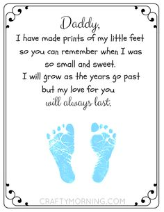 Free Printable Father's Day Footprint Poem - Crafty Morning clever fathers day gifts, decorations for fathers day, fun dad gifts Printable Father's Day Footprint Poem - Crafty Morning Fathers Day Art, First Fathers Day Gifts, Daddy Gifts, Kids Fathers Day Crafts, Dad Crafts, Fathers Day Presents, Poem On Father, Cute Fathers Day Ideas, Happy Fathers Day Poems
