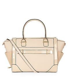 Stone Patent Panel Tote Bag  | New Look