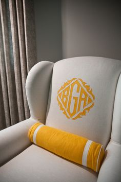 monogrammed easy chairs - white upholstered wing chair with contrasting saffron color monogram - Andrea May via Atticmag Silhouette Cameo, Leontine Linens, Motif Floral, Wing Chair, Take A Seat, Mellow Yellow, My New Room, Linnet, Slipcovers