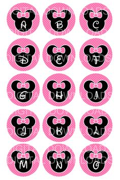 "free minnie mouse printables | Disney Minnie Mouse Alphabet Bottle Cap 1"" Circle…"