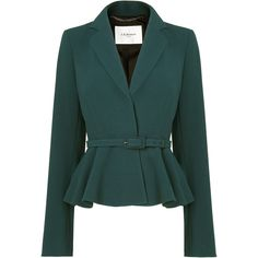 L.K. Bennett Jetta Crepe Peplum Jacket (£95) ❤ liked on Polyvore featuring outerwear, jackets, blazer, coats, coats & jackets, green, teal jacket, crepe jacket, green jacket and peplum jacket