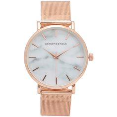 Aeropostale Metal Mesh Marbleized Analog Watch (755 DOP) ❤ liked on Polyvore featuring jewelry, watches, accessories, rose gold, analog watch, analogue watch, metal watches, aeropostale jewelry and aéropostale