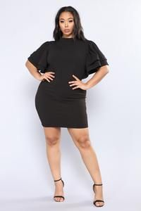 Available In Black, Burgundy and Layer Ruffle SleeveWiden Back ZipperJunior Keyhole On The BackJunior 2 Buttons On The Polyester SpandexImported Ruffle Sleeve, Ruffle Dress, Ruffles, Black Sistas, Plus Size Black Dresses, Burgundy, Cold Shoulder Dress, High Neck Dress, Sexy