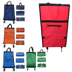 Portable Foldable Rolling Wheeled Cart Trolley Shopping Bag Cart Tote Eco Bag
