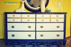 The Turquoise Iris ~ Vintage Modern Home: Navy Blue, Gold & White Vintage Dresser