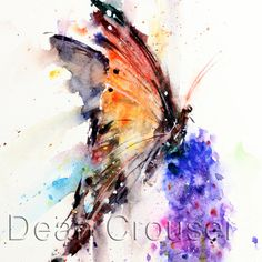BUTTERFLY & FLOWER Watercolor Print by Dean door DeanCrouserArt