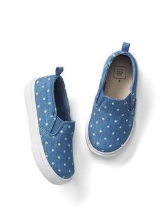 097205118fa32 Dotty chambray slip-on sneakers Toddler Girl Shoes, Toddler Girl Outfits,  Stylish Toddler