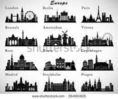 Find European Cities Skylines Set Vector Silhouettes stock images in HD and millions of other royalty-free stock photos, illustrations and vectors in the Shutterstock collection. Thousands of new, high-quality pictures added every day. Skyline Silhouette, Silhouette Vector, Silhouette Files, Stockholm, Illustration Parisienne, Wall Murals, Amsterdam, Madrid, Stock Photos