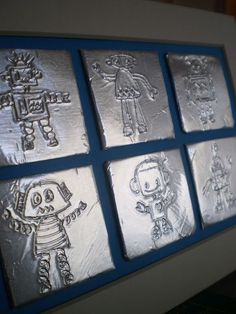 Cool art or headboard for his robot room. Maybe could make with aluminum tiles … Cool art or headboard for his robot room. Maybe could make with aluminum tiles and nail punches or embossing foil. Feuille Aluminium Art, Robot Picture, Classe D'art, Robot Theme, Arte Robot, 4th Grade Art, Ecole Art, School Art Projects, Art School