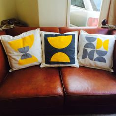 More hand printed cushion covers. See more at www.amylanyon.co.uk