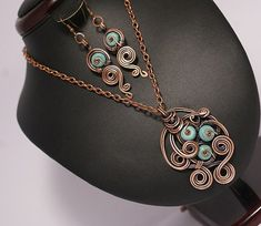 Copper jewelry set-turquoise jewelry set- turquoise necklace-turquoise earring-turquoise ring-  wire wrapped jewelry handmade