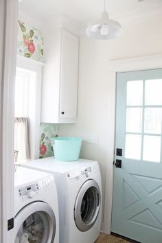 Creating a Lovely Laundry Room + Modern Farmhouse Laundry Room Inspiration White Laundry Rooms, Modern Laundry Rooms, Laundry Room Doors, Laundry Room Storage, Small Laundry, Laundry Room Design, Laundry Closet, Bathroom Modern, Master Bathrooms