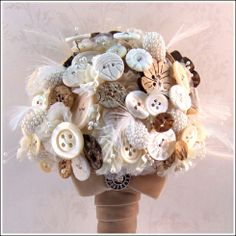 Rustic Button Bouquet - use sea shells with flowers for beach wedding