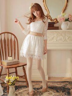 Mango Doll - Elegant Lace Chiffon Belted Dress, $24.00 (http://www.mangodoll.com/all-items/elegant-lace-chiffon-belted-dress/)