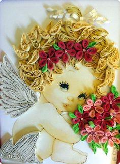 Картина, панно Квиллинг: Маленький ангел 3 Бумажные полосы. Фото 2  quilled little girl with flowers