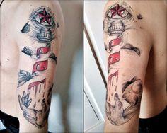 surreal tattoo with lighthouse, nautical star, eye, hand and flying books. done by MiquiLalo aka Aprendiz de brujo:  https://www.facebook.com/brujoelaprendiz/
