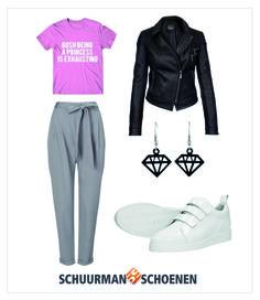In de herfst draag je jouw witte sneakers ook! Met een heerlijke chino broek, t-shirt met letterprint en een stoer zwart leren jack ben je helemaal in het herfstige element. Klik om de klittenbandschoenen van Visions te bekijken in onze webshop!