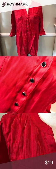 Avenue Shiny Red Tunic Blouse 18/20 Perfect holiday top, 3/4 Sleeve with shiny red fabric Avenue Tops Blouses