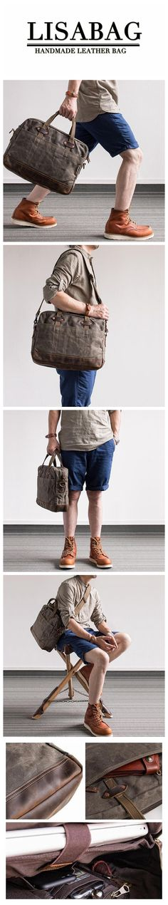 Handmade Waxed Canvas Briefcase Messenger Bag Shoulder Bag 14'' Laptop Bag Unisex Canvas Bag MBL04 Waxed Canvas, Canvas Leather, Leather Bags, Cute Purses, Purses And Bags, Fashion Handbags, Fashion Bags, Photography Bags, Popular Bags