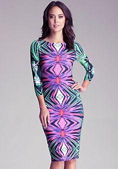 Printed Midi Bodycon Dress