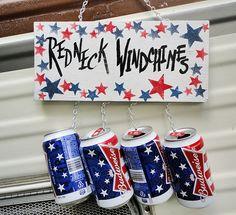 Windchimes redneck beer can sign outdoor garden art  by kpdreams, $12.00