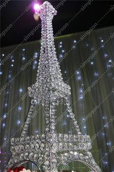"10pcs/lot Free shipment Candelabra centerpiece Eiffel Tower crystal candle holder 23"" tall"