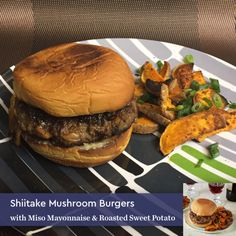 Shiitake Mushroom Burgers with Miso Mayonnaise & Roasted Sweet Potato #blueapron