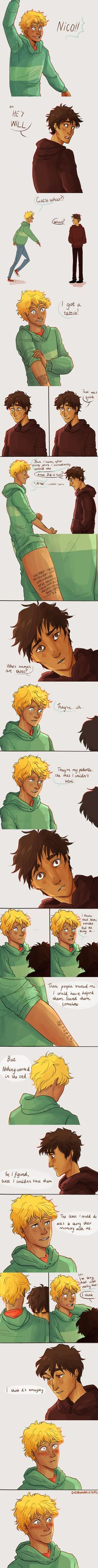 That is sooo cute  will is the best boyfriend besides percy!! (Well in second place is a tie between will AND nico!)