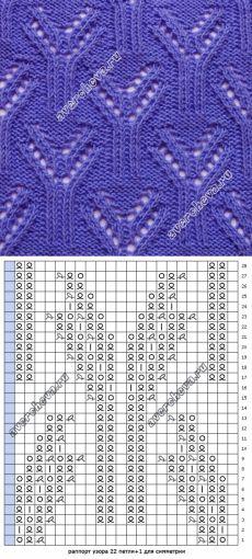 узор по японской схеме спицами | каталог вязаных спицами узоров