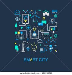 Smart city vector concept. Modern minimal linear design. Illustration of innovations and Internet of things. Green home and technologies.