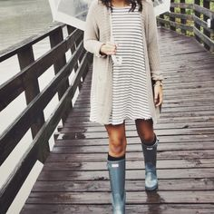 rainy day Striped dress + cream cardigan + rain boots