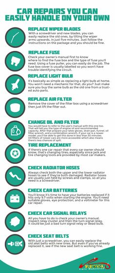 We all know how costly it is to own a car. But you'll be able to save a great deal of money if you do some of these minor car repairs yourself. Car Life Hacks, Survival Life Hacks, Useful Life Hacks, Car Facts, Car Care Tips, Car Fix, Car Essentials, Car Cleaning Hacks, Driving Tips