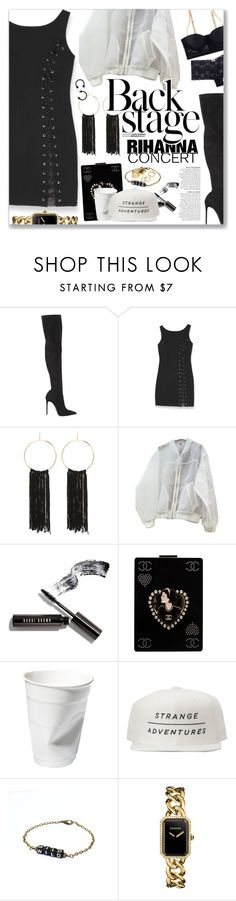 """Kiss It Better, Rihanna"" by blendasantos ❤ liked on Polyvore featuring Le Silla, Bebe, Anja, Bobbi Brown Cosmetics, Chanel, Pieces, concert and Rihanna"