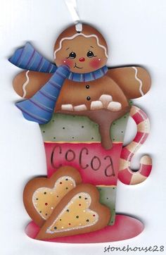 HP GINGERBREAD Cocoa ORNAMENT #Handpainted