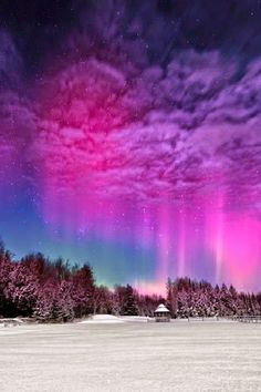 """'Moonlight Aurora II' - photo by Mike Taylor; Taylor says, """"The Moon was very bright and washed out a lot of the sky and the aurora but made for some nice lighting on the snow during the quick Northern Lights display in mid-February. Beautiful Sky, Beautiful World, Beautiful Places, Beautiful Norway, Wonderful Places, All Nature, Science Nature, Norway Nature, Nature Gif"""