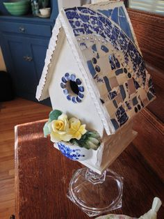 Pretty Blue and White Vintage China Mosaic Bird House