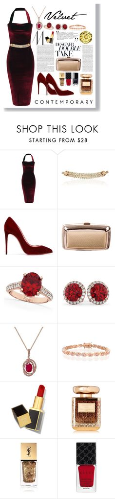 """""""Crushing on Velvet"""" by gpatricia ❤ liked on Polyvore featuring Maison Mayle, Christian Louboutin, Roger Vivier, Allurez, Effy Jewelry, Bling Jewelry, Tom Ford, Swissco, By Terry and Yves Saint Laurent"""