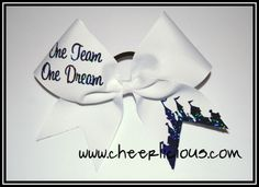 One Team One Dream Bow: $12 www.cheerlicious.com Disney Cheer Bows, Dance Bows, Cheerleading Cheers, S Williams, Cheer Stuff, Calamari, One Team, Athletes, Bling