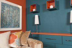 BOLD & BRAVE Orange Walls, Blue Walls, Room Colors, Wall Colors, Interior Color Schemes, Interior Design, Color Schemer, Color Harmony, Vivid Colors