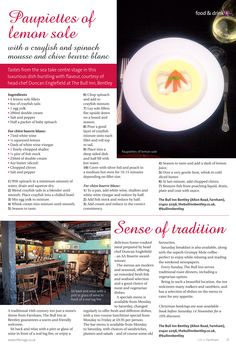 Sense of tradition ~ A visit to The Bull Inn Bentley, which serves up a luxurious dish dominated by tastes from the sea. Farnham Surrey, Chopped Spinach, Recipe Inspiration, Served Up, Mousse, Stuffed Peppers, Sea, Dishes, Drinks