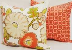 OUTDOOR Pillow Set Orange Geometric & Lime/Orange Floral Indoor/Outdoor Pillow Covers 18x18 $34