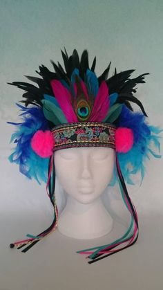 Feather Headdress festival headdress colorful by neonpandalondon