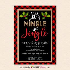 Christmas Party Invitation - Mingle Jingle, Red Black Buffalo Check Plaid, Holiday Party - Digital Printable File OR Printed Cardstock Cards - hashtags} - ideen hochzeit Christmas Pajama Party, Office Christmas Party, Xmas Party, Holiday Party Themes, Christmas Themes, Holiday Parties, Frugal Christmas, Holiday Ideas, Christmas Decorations
