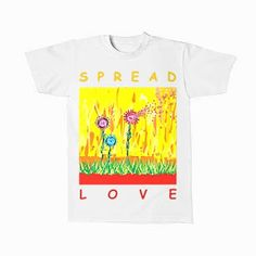 URI ART: SPREAD LOVE DIGITAL PAINTING White Tees for Man