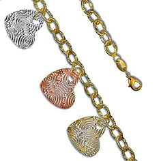Tricolor Hypnotizing Design 14K Yellow Gold Plated Charm Bracelet (7.5)