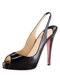 Christian Louboutin No Prive Leather Slingback Red Sole Pump, Black $845