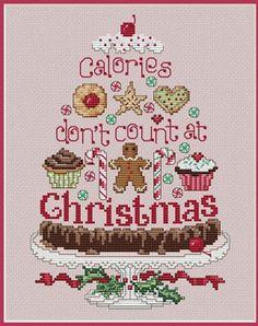 Cute Cupckes! Christmas Calories – Cross Stitch Pattern #cupcakes