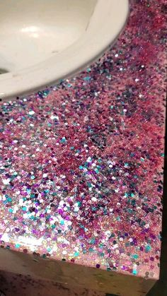For my first time go around with epoxy I give myself a pat on the back, it's not finished I still have to do the backsplash but pretty proud😍 Epoxy Countertop, Backsplash, Countertops, Sprinkles, Home Improvement, Give It To Me, Glitter, Diy Crafts, Crafty